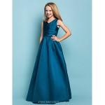 Floor-length Satin Junior Bridesmaid Dress - Ink Blue A-line / Princess V-neck Junior Bridesmaid Dresses