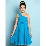 Knee-length Chiffon Junior Bridesmaid Dress - Ocean Blue A-line One Shoulder Junior Bridesmaid Dresses