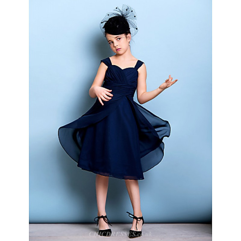 Knee-length Chiffon Junior Bridesmaid Dress - Dark Navy A-line Straps Junior  Bridesmaid 5b6c6738a0