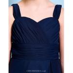 Knee-length Chiffon Junior Bridesmaid Dress - Dark Navy A-line Straps Junior Bridesmaid Dresses