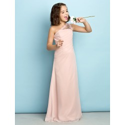Floor Length Chiffon Junior Bridesmaid Dress Pearl Pink Princess One Shoulder