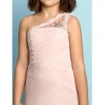 Floor-length Chiffon Junior Bridesmaid Dress - Pearl Pink Princess One Shoulder Junior Bridesmaid Dresses
