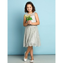 Knee-length Lace Junior Bridesmaid Dress - Silver A-line Jewel