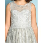 Knee-length Lace Junior Bridesmaid Dress - Silver A-line Jewel Junior Bridesmaid Dresses