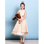 Tea-length Lace Junior Bridesmaid Dress - Champagne A-line Jewel Junior Bridesmaid Dresses