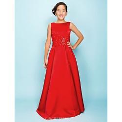 Floor-length Satin Junior Bridesmaid Dress - Ruby A-line / Princess Bateau