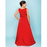 Floor-length Satin Junior Bridesmaid Dress - Ruby A-line / Princess Bateau Junior Bridesmaid Dresses