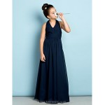 Floor-length Chiffon Junior Bridesmaid Dress - Dark Navy A-line Halter Junior Bridesmaid Dresses