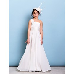 Floor-length Chiffon Junior Bridesmaid Dress - Ivory A-line One Shoulder