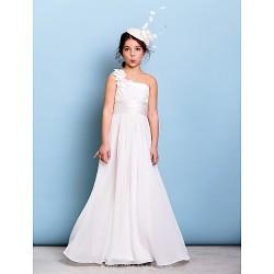 Floor Length Chiffon Junior Bridesmaid Dress Ivory A Line One Shoulder