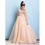 Floor-length Organza / Sequined Junior Bridesmaid Dress - Champagne A-line Jewel Junior Bridesmaid Dresses