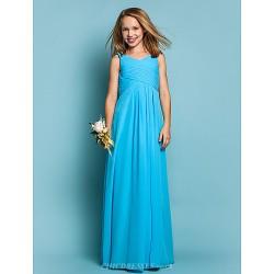 Floor Length Chiffon Junior Bridesmaid Dress Pool Sheath Column Scoop
