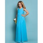 Floor-length Chiffon Junior Bridesmaid Dress - Pool Sheath/Column Scoop Junior Bridesmaid Dresses