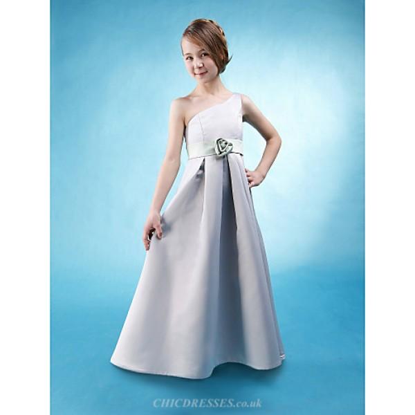 Floor-length Satin Junior Bridesmaid Dress - Silver A-line / Princess One Shoulder Junior Bridesmaid Dresses