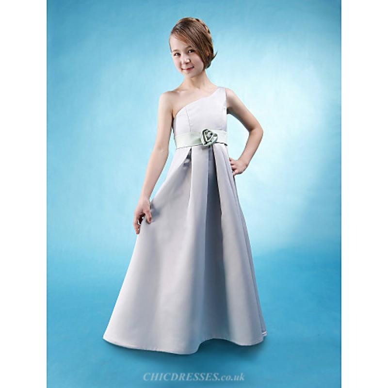 Floor Length Satin Junior Bridesmaid Dress Silver A Line