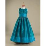 Floor-length Taffeta Junior Bridesmaid Dress - Jade A-line / Princess Jewel Junior Bridesmaid Dresses
