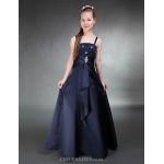Floor-length Satin Junior Bridesmaid Dress - Dark Navy A-line / Princess Spaghetti Straps Junior Bridesmaid Dresses