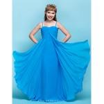 Floor-length Chiffon Junior Bridesmaid Dress - Ocean Blue Sheath/Column Spaghetti Straps Junior Bridesmaid Dresses