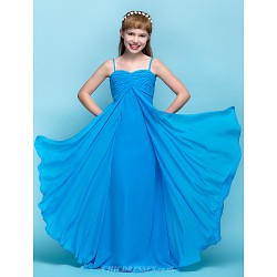 Floor Length Chiffon Junior Bridesmaid Dress Ocean Blue Sheath Column Spaghetti Straps