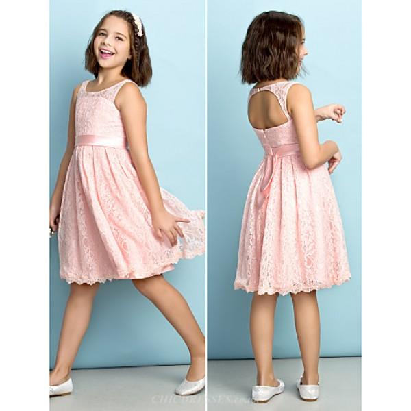 Knee-length Lace Junior Bridesmaid Dress - Pearl Pink A-line Scoop Junior Bridesmaid Dresses