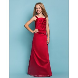 Floor Length Satin Junior Bridesmaid Dress Burgundy A Line Straps