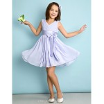 Knee-length Chiffon Junior Bridesmaid Dress - Lavender A-line V-neck Junior Bridesmaid Dresses
