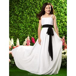 Sweep/Brush Train Chiffon Junior Bridesmaid Dress - White Sheath/Column Spaghetti Straps