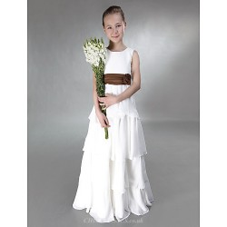 Floor-length Chiffon / Satin Junior Bridesmaid Dress - Ivory A-line / Princess Jewel