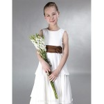 Floor-length Chiffon / Satin Junior Bridesmaid Dress - Ivory A-line / Princess Jewel Junior Bridesmaid Dresses