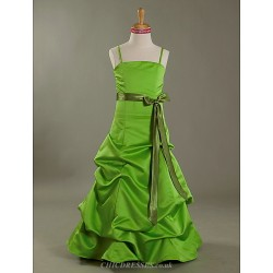 Floor Length Satin Junior Bridesmaid Dress Lime Green A Line Princess Spaghetti Straps