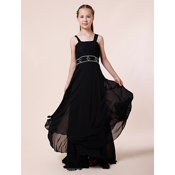 Floor-length Chiffon Junior Bridesmaid Dress - Black Sheath/Column Straps Junior Bridesmaid Dresses