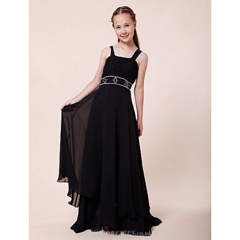 Floor Length Chiffon Junior Bridesmaid Dress Black
