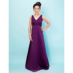 Floor Length Satin Junior Bridesmaid Dress Grape A Line Princess V Neck
