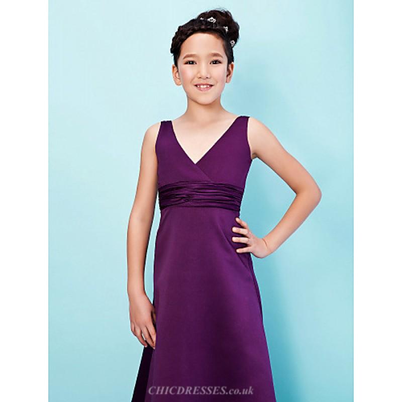Floor-length Satin Junior Bridesmaid Dress - Grape A-line / Princess ...