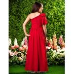 Floor-length Chiffon Junior Bridesmaid Dress - Burgundy A-line / Princess One Shoulder Junior Bridesmaid Dresses