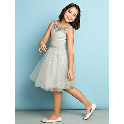 Knee Length Tulle Junior Bridesmaid Dress Silver A Line Scoop
