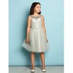 Knee-length Tulle Junior Bridesmaid Dress - Silver A-line Scoop Junior Bridesmaid Dresses