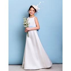 Floor Length Satin Tulle Junior Bridesmaid Dress Ivory A Line Jewel