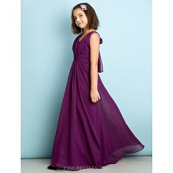 Floor Length Chiffon Junior Bridesmaid Dress Grape A Line V Neck