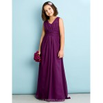 Floor-length Chiffon Junior Bridesmaid Dress - Grape A-line V-neck Junior Bridesmaid Dresses