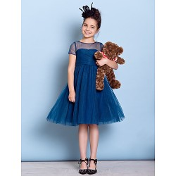 Knee-length Tulle Junior Bridesmaid Dress A-line Jewel