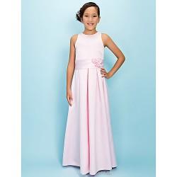 Floor-length Satin Junior Bridesmaid Dress - Blushing Pink A-line Jewel