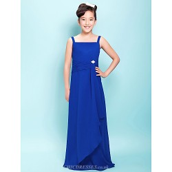 Floor Length Chiffon Junior Bridesmaid Dress Royal Blue Sheath Column Straps Square