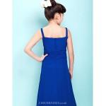Floor-length Chiffon Junior Bridesmaid Dress - Royal Blue Sheath/Column Straps / Square Junior Bridesmaid Dresses