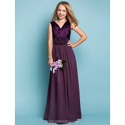 Floor-length Chiffon / Stretch Satin Junior Bridesmaid Dress - Grape Sheath/Column V-neck