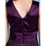 Floor-length Chiffon / Stretch Satin Junior Bridesmaid Dress - Grape Sheath/Column V-neck Junior Bridesmaid Dresses