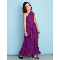 Ankle Length Chiffon Junior Bridesmaid Dress Grape A Line One Shoulder