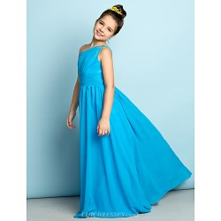Floor-length Chiffon Junior Bridesmaid Dress - Pool A-line One Shoulder