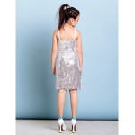Short/Mini / Knee-length Sequined Junior Bridesmaid Dress - White Sheath/Column Spaghetti Straps Junior Bridesmaid Dresses