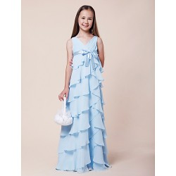 Floor Length Chiffon Stretch Satin Junior Bridesmaid Dress Sky Blue A Line Princess V Neck